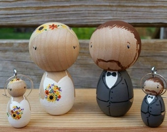 CUSTOM Kokeshi Style Wedding Cake Toppers WITH Matching Wine Glass Charms