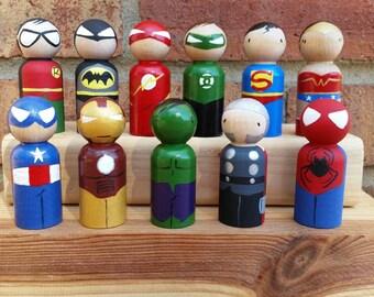 "Superhero Wooden Peg Doll / Cake Topper / Collectible / Stocking Stuffers - Small Size 2 3/8"" Peg"