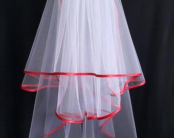 White Wedding Veil, Three Layers, Red Satin Edging.
