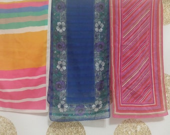 Vintage Lot of 3 Bright Head or Neck Scarf or Scarves. Floral, Geometric, and Striped