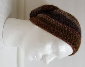 Men's Crochet Slouchy Beanie Hat, Slouchy Crochet Hat, Oversized Slouchy Beanie, Chunky Hat, Men's Winter Hat Multi-Brown