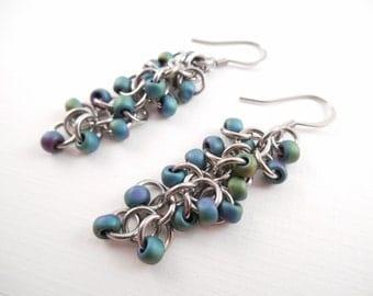 Gasoline Beaded Earrings - Gasoline Beaded Shaggy Loops Stainless Steel Chain Maille Dangle Earrings