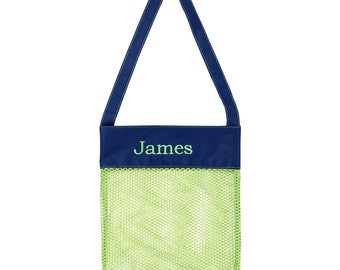 Personalized kids shell totes, shell totes, Mesh shell totes, Monogrammed shell totes,  size 11.5x2x13.5,hot pink,lime green,beach shellbag