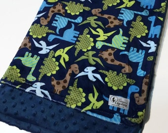Cover blanket double soft minky reversible baby dinosaurs cayalou marine