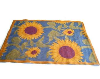 """Vintage Ekelund Master Weavers Cotton Sunflowers 20""""X 29"""" Cloth Swedish Woven Tea Towel"""