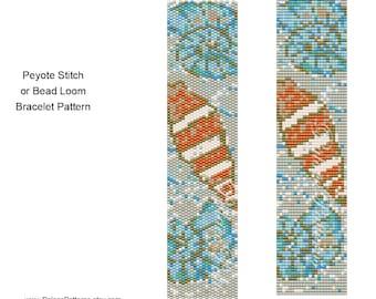 Bead Loom and Peyote Stitch Bracelet Pattern - Sea Shells on the Beach
