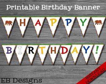 Brown Bear Birthday Banner