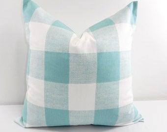 Blue Pillow. Buffalo Check Pillow. Decorative Pillow. Canal Blue  Pillow cover. Country Pillows Cotton. Sham Pillow case.Select your size.
