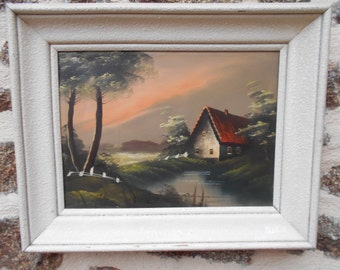 Vintage French antique oil painting on canvas, Framed..