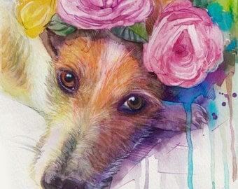 Custom Pet  Portrait , custom portraits watercolor painting