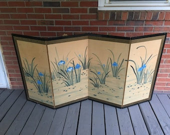 Vintage Hand Painted Signed Oriental Folding Silk Screen Divider Lotus Flowers Wood Frame Brass Ornaments Mid Century Decor