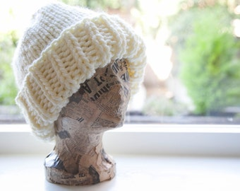 Chunky Knitted Hat - woolly warm for winter - off white