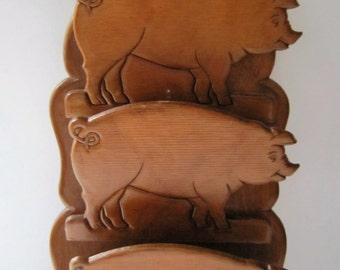 "Vintage Three Pigs Wooden Letter Holder Key Rack Wooden 19 1/2"" Long"