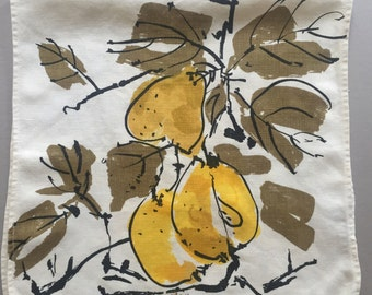 vintage vera neumann linen tea towel sunflowers flowers