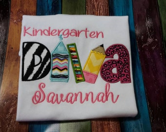 Kindergarten Diva Shirt, appliqued, embroidered, monogrammed, customized, Back to School, child's clothing, Girl's T-shirt