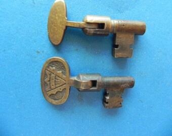 """2 Antique Brass """"Folding Pocket Door Skeleton Keys"""" Old and Original."""