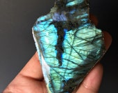 Flashy Labradorite (spectrolite) Slab with Polished Side-Mineral Specimen - Labradorite Slab