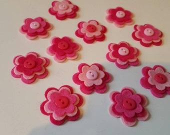 12 Beautiful handmade felt flower embellishments. Die cuts