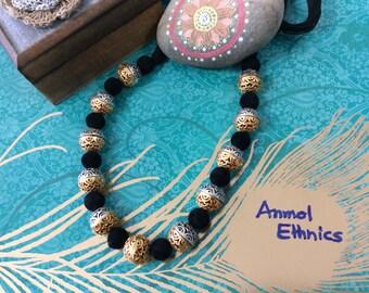 Adjustable Black Thread Two Tone Necklace