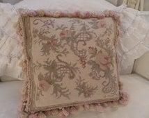 Vintage French Aubusson Pink Roses Shabby Chic Pillow Pastels Best Tassel Fringe