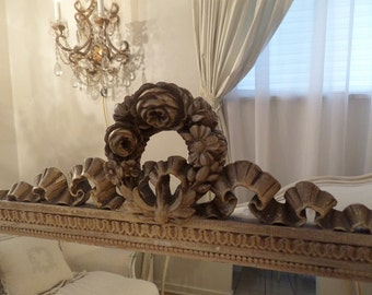 Stunning Ornate Antique French Louis Ribbon Roses Gesso Carvings Large Wall Mirror Paris Apartment