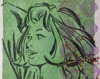 "Vintage Comic Inspired Monoprint ""Thelma"""