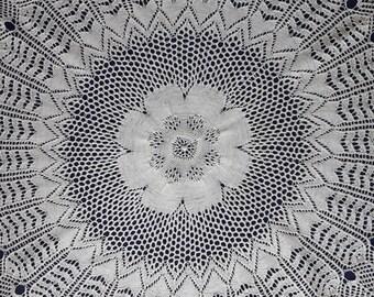Cream handmade knitted round doily