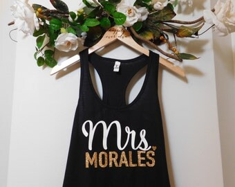 Mrs Custom Tank Top, Wedding Tank Top, White and Gold Glitter Tank Top, Black Bride Tank Top, Racerback, Comfy Tank
