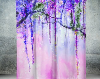 Abstract  Shower Curtain Wisteria Floral Watercolor