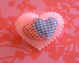 Heart Pin ~ Red and Purple Gingham Plaid brooch pin