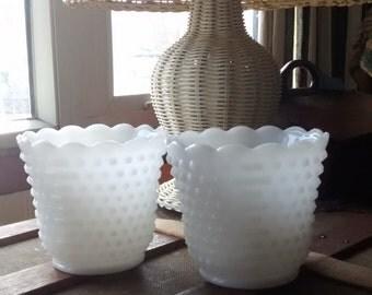 Pair of Fire King Hobnail Milk Glass Vases, Organizer, Plant Holder Vintage 1960s