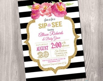 Black and white Sip and see invitation, baby shower invitation girl, watercolor flowers, black, gold, pink, digital, Printable Invitation