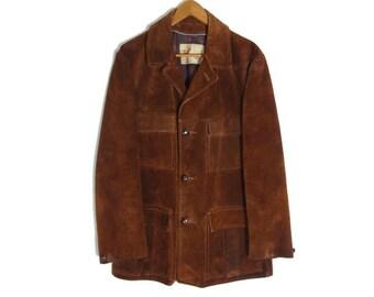 Vintage 1960s Distressed Suede Leather Jacket - Mens - Western Suede Jacket - Ranchwear - Medium Mens - Large Womens - Brown Suede Coat -