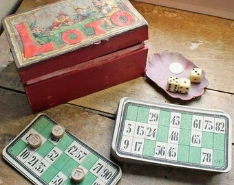 Vintage French bingo game with box/ French Loto Game Cards/Lottery Cards and Numbers/