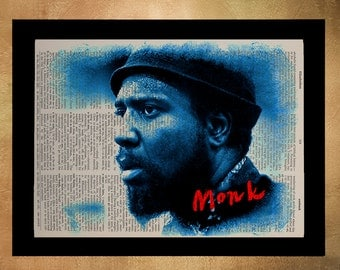 Thelonious Monk Portrait Dictionary Art Print, Jazz Piano Music Blue Home Decor Wall Art Jazz Decor da331