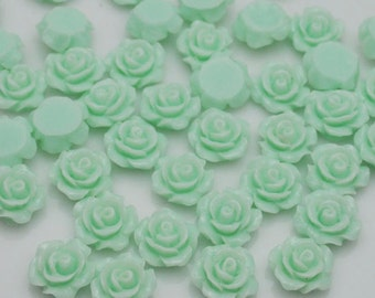 Resin Flower Cabochon Delicate Rose ,20pcs light green Rose Cabochons - 10mm.