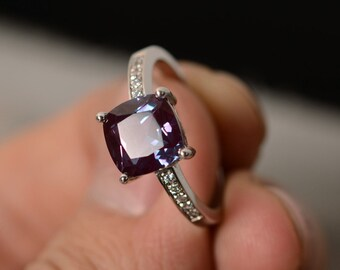 Lab Alexandrite Ring Silver Cushion Cut Ring