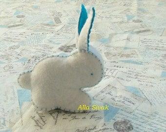 Easter rabbit, Baby Bunny Rabbit, Rabbit soft toy, White with blue ears Rabbi, Waldorf rabbit, Easter bunny, Easter bunny decor,