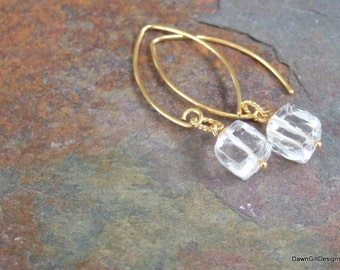 Gold vermeil and clear, faceted, rock crystal drop earrings