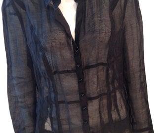 Black Sheer Buttondown Square Panelled Blouse - Size 14