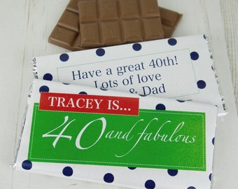 40 and Fab Chocolate Bar - 40th - fabulous - personalised chocolate - personalised candy wrapper