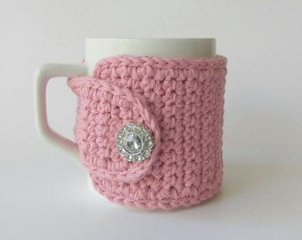 Pink Coffee Cozy, Crochet Coffee Mug Cozy, Pink Coffee Cozy, Jeweled Button, 16 Colors Available