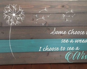 Some choose to see a weed or wish! Grey stain. Wood sign