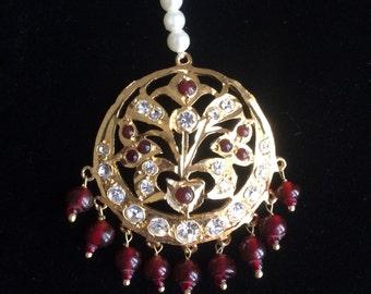Maroon MaangTikka, Red Maang Tikkas, Matha patti, Indian Wedding Jewelry, Indian Head piece, bridal maang teeka, hijab jewellery