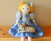 SALE! Fabric doll, cute rag doll, blond doll, adorable fabric doll, cotton doll, nice doll, plush doll, Alice in wonderland doll