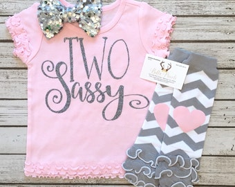 Baby Girl Clothes TWO Sassy Second Birthday Shirt Two Sassy Tops Baby Girl Clothes Sassy Shirts Two Sassy Second Birthday Shirt