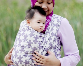 SALE 20% OFF - Woven Baby Wrap - Daiesu Jigsaw Indigo - Baby Wrap - Baby Carrier - Woven Wrap Baby Carrier