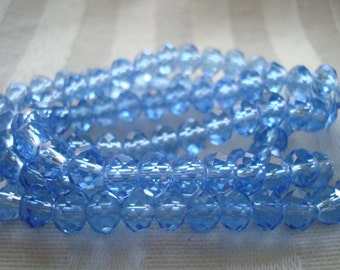 "3x4mm Baby Blue Rondelles. 148pc  Full 18 or 20"" Strands. Beautiful, Faceted, Little Sky Blue Rondelles. Permanent Color ~USPS Ship Rates/OR"
