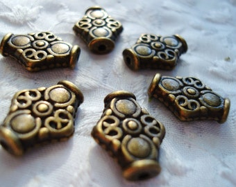 22 Bronze Rhombus Beads. Antiqued. Ornate. Solid. 15x12.5mm Quality, Gorgeous Big Heavy Bronze Spacer. ~USPS Standard Ship Rates from Oregon