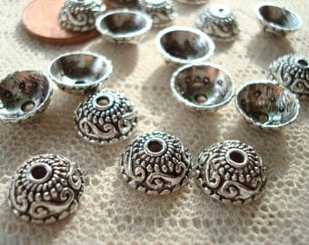 30 Ornate Silver Bali Dome Caps. 10mm Beautiful Detailed Pattern. Antiqued. 10x4mm  Perfectly Domed Silver Cap.  USPS Ship Rates from Oregon